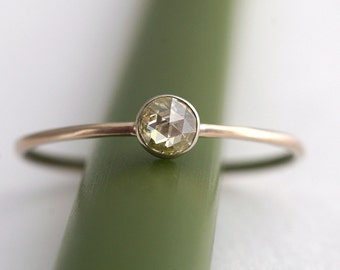 Fancy Rose Cut TIny White Diamond Stacking Ring in Pale Pink Gold