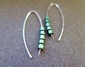 green earrings. sterling silver earings. hematite jewellery.