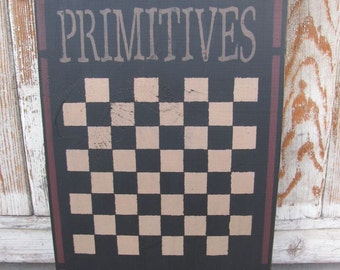 Primitives Star Hand Stenciled Wooden Checker Game Board  GCC05088