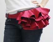 New Year SALE - 20% OFF Ruffled Waist Purse in Dark Red / Fanny Pack / Hip Bag / Pouch / Waist Belt / Small Bag / Women / For Her / Gift