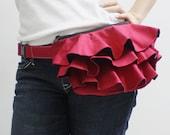 Halloween SALE - 20% OFF Ruffled Waist Purse in Dark Red / Fanny Pack / Hip Bag / Pouch / Waist Belt / Women / For Her