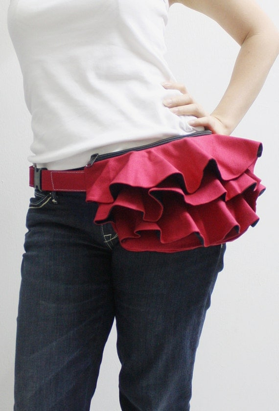 Back To School SALE - 20% OFF Ruffled Waist Purse in Dark Red / Fanny Pack / Hip Bag / Pouch / Waist Belt / Women / For Her