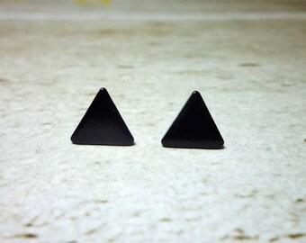 Black Triangle Stud Earrings, Dainty Earrings