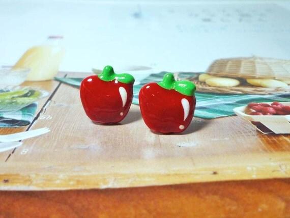 SALE - Red Apple Stud Earrings