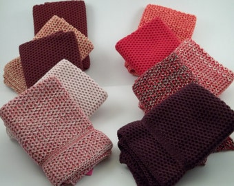 Dish Cloths Knit in Cotton in a Red Bundle  - Knit Wash Cloth