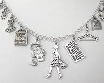Love to shop necklace or shopping bracelet, 11 charms, shopping charm bracelet, love shopping, fashionista bracelet, gift for friend