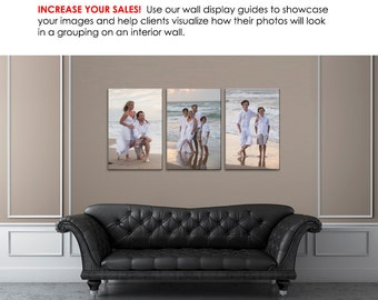 Photography Wall Display Guide - Simply Neutral Leather Sofa - (3) Photoshop Layered .psd Templates; Leather Sofa backdrop & image display.