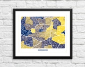 Greensboro NC Art Map Print.  Color Options and Size Options Available.  Perfect for your favorite UNCG Spartan.