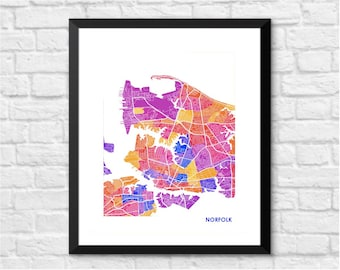 Norfolk Map Print.  Choose your Colors and Size.  Virginia City Wall Art.