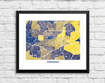 Greensboro Map Print.  Choose the Colors and Size.  Perfect art for your favorite University North Carolina Spartan.