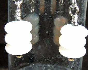 Dangle Earrings, Frosted, White, Czech Glass, Beaded, Silver