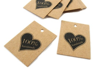 Product tags - Handmade & heart printed mini kraft gift tag - Set of 10 (XT300)