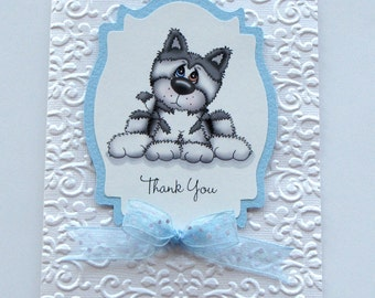 Thank you card - grey husky dog - Greeting Card - gray dog card - embossed card - handmade - puppy card - blue and white- hand crafted