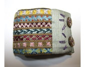 Hand Embroidered Rich Multi-Colored Cuff with Gray Dupioni Silk Touches