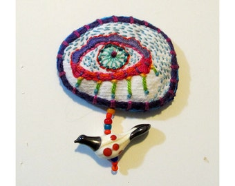 Hand Embroidered Eye Colorful Pin with Hand Blown Glass Spotted Bird