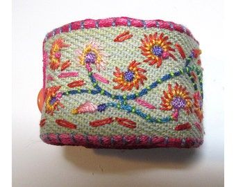 Hand Embroidered Spring Flowers Cuff