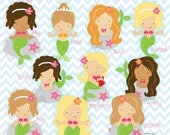 Large Mermaid Party Printables - Instant Download