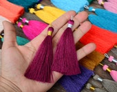 """Luxe Silk Tassels with braided loop, 3"""" (~77mm) / Beautiful Vibrant Colors, Jewelry Making Supplies, Boho Fashion / Pick Your Colors / Each"""