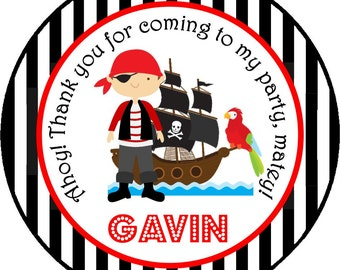 Pirate Ship Stickers, Personalized Stickers or Gift Tags, Pirate Birthday Party, Pirate Stickers