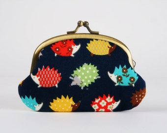 Metal frame coin purse - Little hedgehogs on navy bue - Big smile / Japanese fabric / Kawaii woodland animals / red yellow brown green aqua