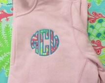 Pink Monogrammed Lilly Pulitzer Quarter Zip Pullover Sweatshirt