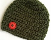 Newborn girl 0-3 months baby hat beanie olive green fall autumn theme boy infant hat baby photo prop Ready To Ship