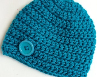 Newborn girl 0-3 months baby hat beanie dark teal blue boy infant hat baby photo prop Ready To Ship