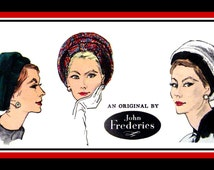 Vintage 1960s-DESIGNER HALO BERET-Vogue Sewing Pattern-Two Styles-Original Design by John Frederics-Optional Contrast-Rare-Collectible