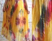 the sun -- vintage sheer crinkle tie-dyed swishy skirt M/L