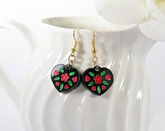 Red Floral on Black Acrylic Heart Drop Earrings
