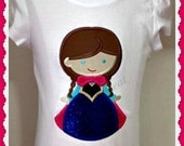 Girls Personalized Embroidered Appliqued Frozen Inspired Anna  Yellow , blue, tee, Embroidered t-shirt
