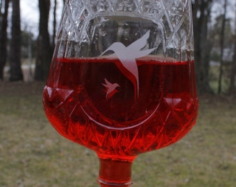 Etched Hummingbird Feeder from recycled Crown Royal