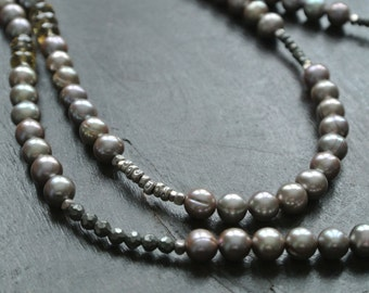 Long Pearl Necklace -Champagne Freshwater Pearl-  Gemstone Necklace- Natural Citrine- Pyrite-- One of a KInd