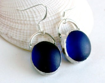 Frosted Cobalt Blue Stained Glass Earrings - Stained Glass Jewelry