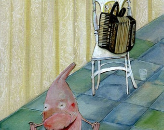 The Practice /Poster-Size Archival Print / Whimsical / Rabbit & Accordion / Children's Decor / Reduced