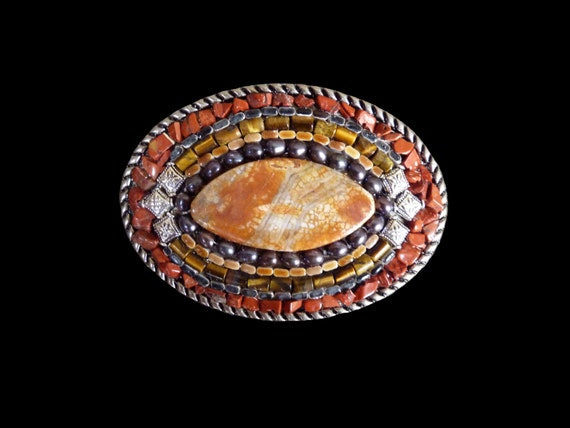 Unisex Fire Agate, Jasper, Tiger's Eye and Black Pearl Gemstone Mosaic Belt Buckle Original One of a Kind