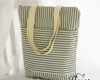 Black and Natural Ticking Stripe Fully Insulated Tall Lunch Tote- Bag- Zipper Lunch Bag 12x13