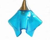 Glass Pendant Light Fixture in Light Turquoise Transparent Art Glass