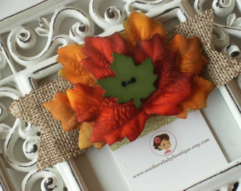 NEW ITEM----Boutique Girl Hair Clip---Fall Leaves