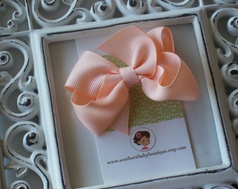 New Item----Little Baby Toddler Girl Hair Bows 2.5 inch Clip or Headband----Peach----Ready to Ship