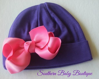 NEW----Boutique Hospital Pictures Knit Beanie Cap with Hairbow Clip Set----Purple and Hot Pink----Fits 0-6 Months