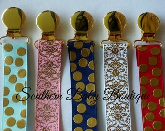 NEW ITEM---Boutique Baby Toddler Girl or Boy--Paci Clip--Pacifier Holder--Gold Foil