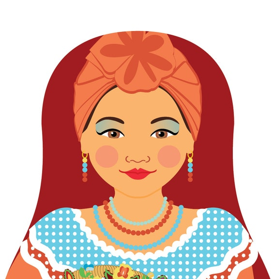 Sienna Cuban Doll Art Print, traditional folk dress matryoshka