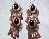 Huge Vintage Copper and Black Stone Dangly Earrings