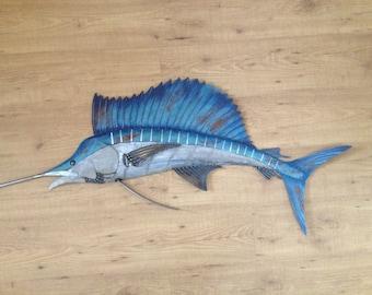 Sailfish Metal Wall Art Fish sculpture Handmade Beach Coastal Tropical Ocean