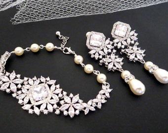 Bridal earrings, Wedding jewelry, Wedding earrings, Bridal bracelet, Crystal earrings, Pearl drop earrings, Crystal Bracelet, SOPHIA