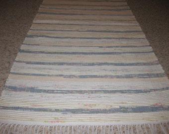 Handwoven Peach, Blue, Cream, Pale Pink Rag Rug 25 x 76