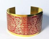 Etched Metal Cuff, Red Cuff Bracelet, Mixed Metal Cuff