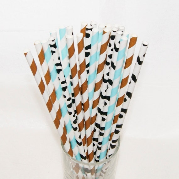 Cow Print Drinking Straws