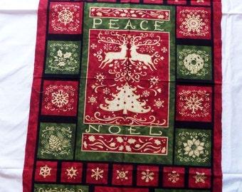 Christmas Wall Hanging ~ Fabric Panel ~ Benartex ~ Victorian Red & Green Colors